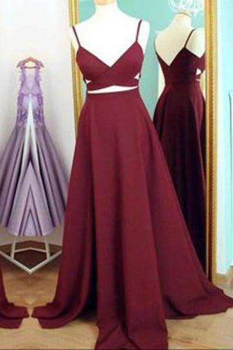 Two Piece Straps Long Prom Dress Evening Dress Spaghetti Straps Wine Red Prom XHMPST14254