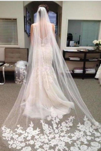 Ivory Lace Edge Chapel Length Wedding Veils Bridal XHMPST12501