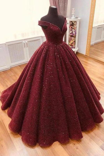 Sparkle Ball Gown V Neck Burgundy Off the Shoulder Prom Dress Quinceanera XHMPST14072