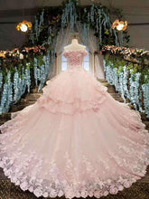 Load image into Gallery viewer, 2020 Tulle Awesome Pink Wedding Dresses Off The Shoulder Lace Up With Appliques And XHMPST14638