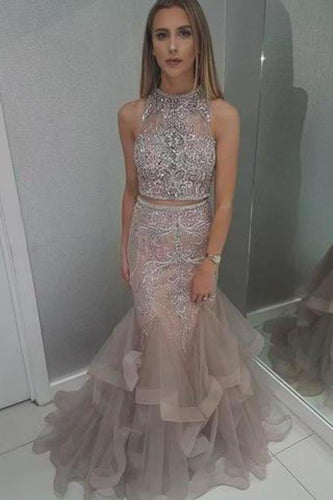 Two Pieces Mermaid High Neck Blush Prom Dress With Beading Evening XHMPST14281