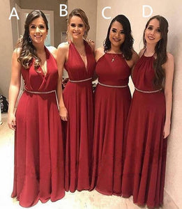 Elegant A Line Chiffon Red Crystal Maid of Honor Bridesmaid Dresses with XHMPST20459
