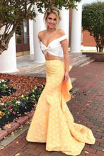 Load image into Gallery viewer, Two Piece Off-the-Shoulder White and Yellow Zipper V-Neck Mermaid Long Prom XHMPST14243