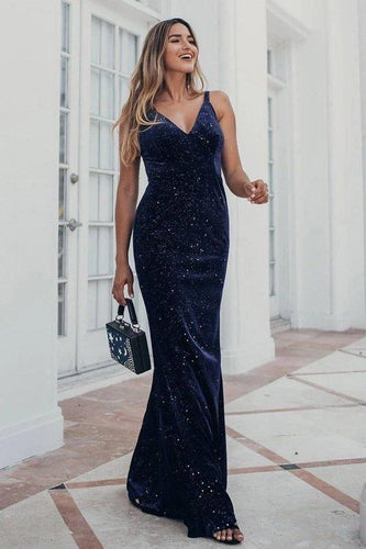 V-Neck Spaghetti Straps Velvet Dark Navy Blue Mermaid Evening Dress Prom Dresses XHMPST15480