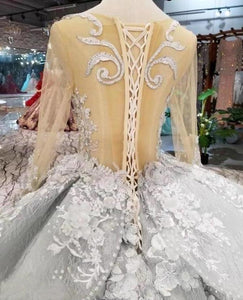 See Through Bodice Silver Wedding Dresses Long Sleeve Quinceanera Dress with XHMPST13467