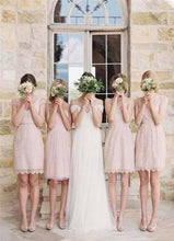 Load image into Gallery viewer, Mismatched Junior Short Lace Knee Length Blush Pink Bridesmaid Dresses Prom Dresses XHMPST14924