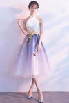 Simple Tulle White and Blue Ankle Length Halter Backless Sleeveless Graduation XHMPST13978