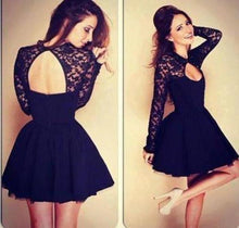 Load image into Gallery viewer, Sexy Ball Gown High Neck Long Sleeves Lace Backless Black Short Homecoming XHMPST13526