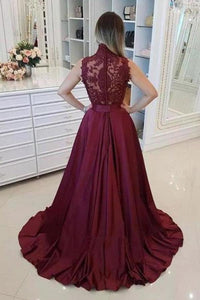 Burgundy High Neck Lace Prom Dresses Beads Satin Long Cheap Party Dresses XHMPST14872