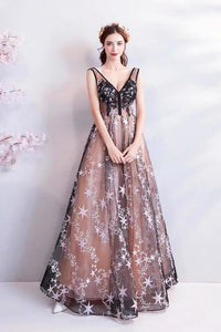 Princess A Line V Neck Applique Prom Dresses with Stars Lace up Evening Dresses XHMPST15286