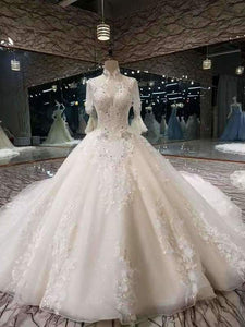 2020 Luxurious High Neck Wedding Dresses Tulle With Sequins Beads XHMPST14698