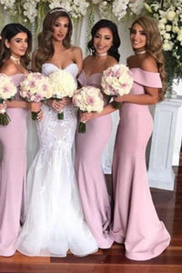 Simple Off-the-shoulder Sheath Sweep Train Split Front Bridesmaid Dresses XHMPST14757