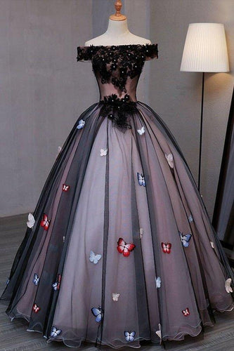 Princess Black Off the Shoulder Butterfly Appliqued Prom Dresses Quinceanera Dresses XHMPST14927