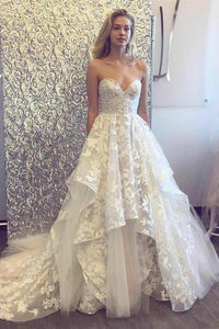 A-line 3D Lace Appliques V Neck Strapless Wedding Dresses Chapel Train Wedding Gowns XHMPST14851