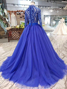 Elegant Blue Tulle Deep V Neck Long Sleeve Beads Ball Gown Prom Dresses with Lace up XHMPST14894
