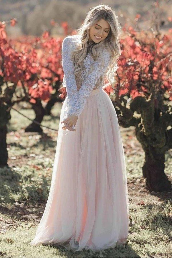 Two Pieces Long Sleeves Lace Appliques Blush Pink Wedding Dresses Beach Wedding Dress XHMPST15538