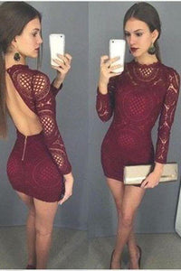 Burgundy Long Sleeve High Neck Backless Sheath Lace Homecoming Dresses Cocktail Dress XHMPST14873