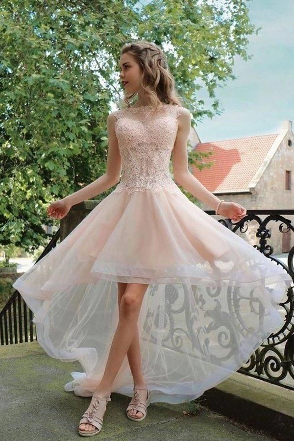 Light Pink High Low Sleeveless Tulle Prom Dress with Lace Cute Hi Lo Party Dresses XHMPST14726