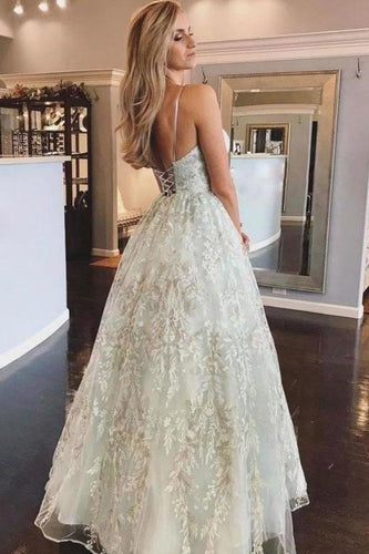 Spaghetti Straps Lace Appliques Beach Wedding Dresses with Lace up Wedding XHMPST14037