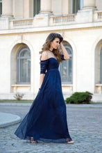 Load image into Gallery viewer, Sexy Off-the-Shoulder Chiffon Half Sleeve Sweetheart Navy Blue Floor Length Prom XHMPST13647
