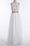 Simple A-Line White Open Back Jewel Sleeveless Floor-Length Lace Top Halter Wedding XHMPST13875