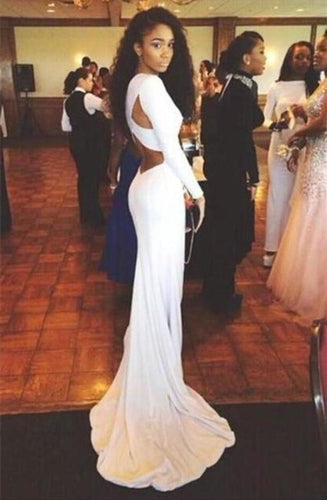 Open Back White Prom Dresses With Long Sleeves Tight Backless Royal Blue Prom XHMPST13145