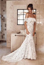 Load image into Gallery viewer, Elegant Off the Shoulder Ivory Lace Mermaid Beach Wedding Dress Cheap Bridal Dress XHMPST15188