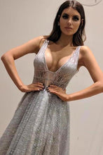 Load image into Gallery viewer, Chic A-Line Silver Backless V Neck Fashion Custom Unique Long Prom Dresses XHMPST15130