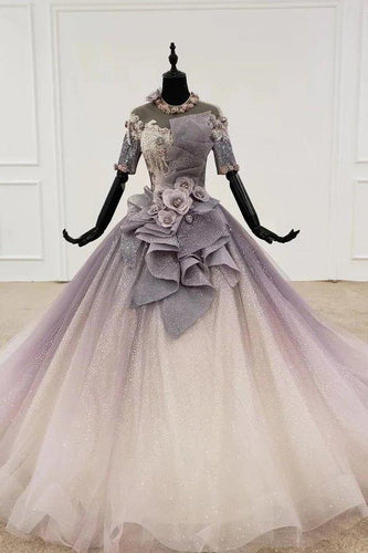 Sparkly Ball Gown Ombre Half Sleeves Jewel Long Prom Dresses Beads Quinceanera Dresses XHMPST15601
