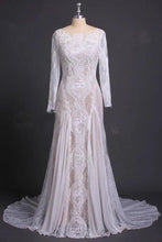 Load image into Gallery viewer, Sheath Long Sleeve Ivory Lace Wedding Dresses See Through Backless Boho Bridal XHMPST13761