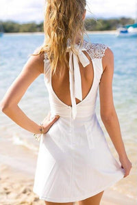 White Simple Short Cheap Open Back Sleeveless Cute Lace Graduation Homecoming XHMPST14525