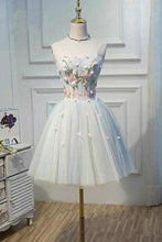 Load image into Gallery viewer, Cute Blue Strapless Tulle Homecoming Dresses with 3D Flowers Lace up Dance Dresses XHMPST14970