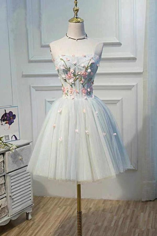 Cute Blue Strapless Tulle Homecoming Dresses with 3D Flowers Lace up Dance Dresses XHMPST14970