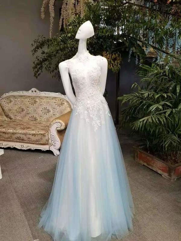 2020 New Arrival A-Line High Neck Tulle Prom Dresses Floor Length Lace XHMPST14595