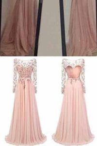 Long Sleeve Backless Long Sexy Lace Pink Beads A-Line Scoop Prom Dresses XHMPST14665