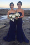 Sexy Mermaid Sweetheart Strapless Backless Sweep Train Bridesmaid Dresses with XHMPST13639