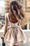 A Line High Neck Long Sleeve Pleats Open Back Satin Short Homecoming Dresses with XHMPST10295