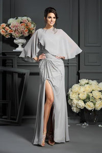 Elegant A-Line Grey One Shoulder Sleeveless Beads Slit Chiffon Mother of the Bride XHMPST11956