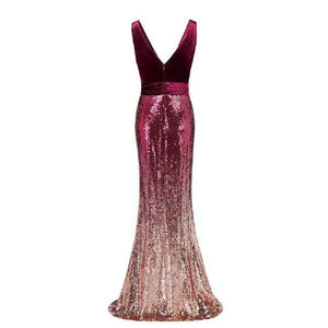 Sexy Sequins Mermaid V Neck Burgundy Velvet Long Prom Dresses Backless Evening Dress XHMPST15352