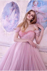 Princess Ball Gown Pink Tulle Off the Shoulder Lace up Homecoming Dresses with XHMPST13255