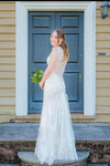 Simple Mermaid Lace Appliques Ivory Cap Sleeves Button Long V Neck Wedding XHMPST13921