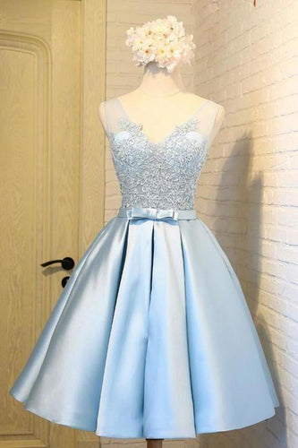 Sky Blue A-Line V-Neck Short Prom Dresses Appliques Lace Homecoming XHMPST14006