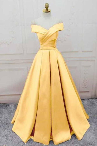 Simple Yellow Off the Shoulder Prom Dresses Lace up Sweetheart Satin Party XHMPST14000