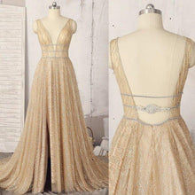 Load image into Gallery viewer, A line Deep V Neck Sleeveless Sequins Floor Length Prom Dresses Long Evening XHMPST10233