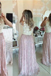 2020 Pink Prom Gowns Lace Evening Dresses Beading Long Beautiful Pink Formal XHMPST10044