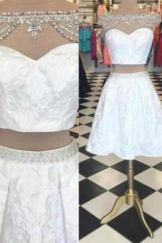 Trendy Two Piece Bateau Cap Sleeves Short White Homecoming Dress Beading XHMPST14208