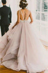 2020 A line Scoop Neckline Organza Long Custom Affordable Open Back Wedding XHMPST10002