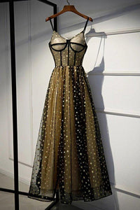 Charming Spaghetti Straps Sweetheart Black Tulle Prom Dresses with Stars Party Dresses XHMPST15127