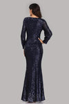 Long Split Sleeve Mermaid V Neck Dark Navy Blue Sequins Prom Dresses Formal Dress XHMPST15256
