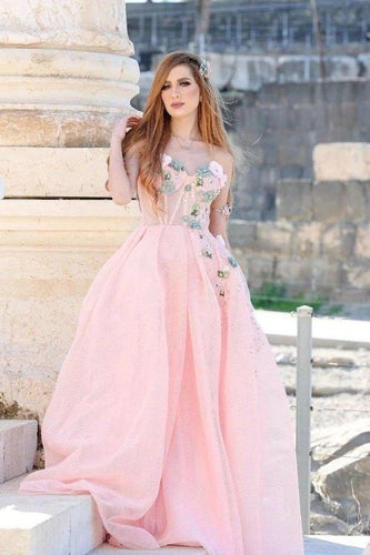 Princess Ball Gown Sweetheart Pink One Shoulder Prom Dresses Quinceanera Dresses XHMPST15296
